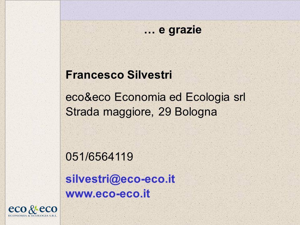 Francesco Silvestri eco&eco Economia ed Ecologia srl Strada maggiore, 29 Bologna 051/6564119 silvestri@eco-eco.it www.eco-eco.it … e grazie