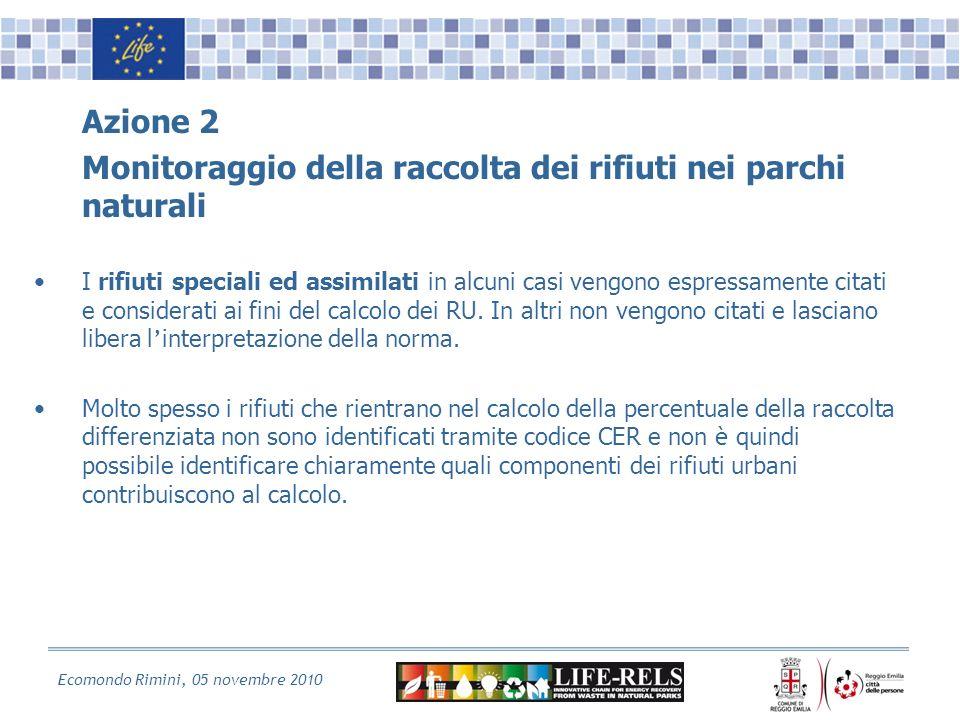 Ecomondo Rimini, 05 novembre 2010 Azione 2 Monitoraggio della raccolta dei rifiuti nei parchi naturali I rifiuti speciali ed assimilati in alcuni casi vengono espressamente citati e considerati ai fini del calcolo dei RU.