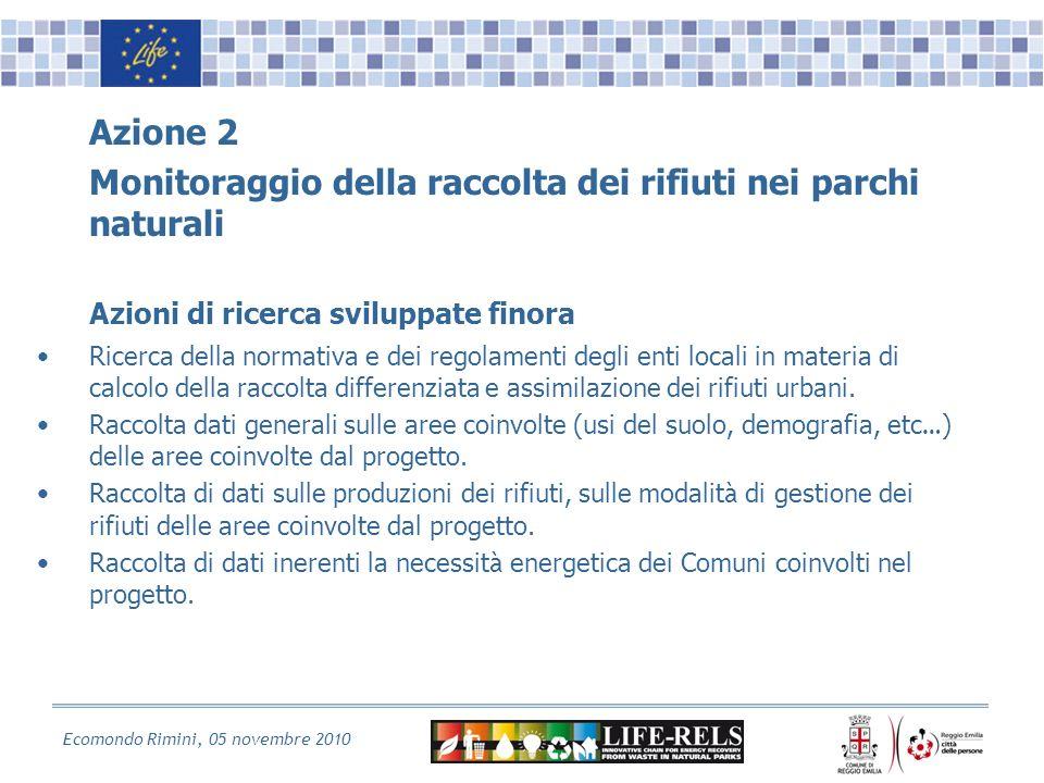 Ecomondo Rimini, 05 novembre 2010 Azione 2 Monitoraggio della raccolta dei rifiuti nei parchi naturali Azioni di ricerca sviluppate finora Ricerca della normativa e dei regolamenti degli enti locali in materia di calcolo della raccolta differenziata e assimilazione dei rifiuti urbani.