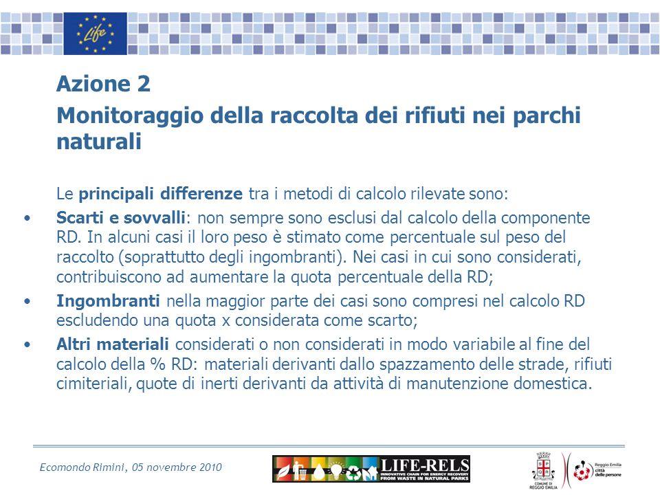 Ecomondo Rimini, 05 novembre 2010 Azione 2 Monitoraggio della raccolta dei rifiuti nei parchi naturali Le principali differenze tra i metodi di calcolo rilevate sono: Scarti e sovvalli: non sempre sono esclusi dal calcolo della componente RD.