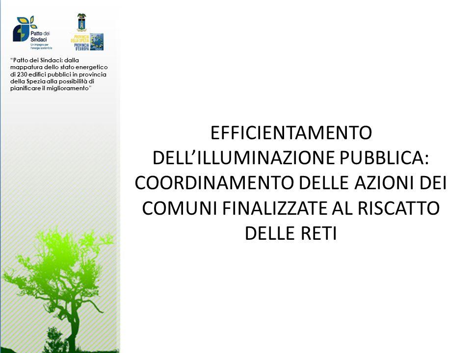Patto dei Sindaci: dalla mappatura dello stato energetico di 230 edifici pubblici in provincia della Spezia alla possibilità di pianificare il miglioramento EFFICIENTAMENTO DELLILLUMINAZIONE PUBBLICA: COORDINAMENTO DELLE AZIONI DEI COMUNI FINALIZZATE AL RISCATTO DELLE RETI