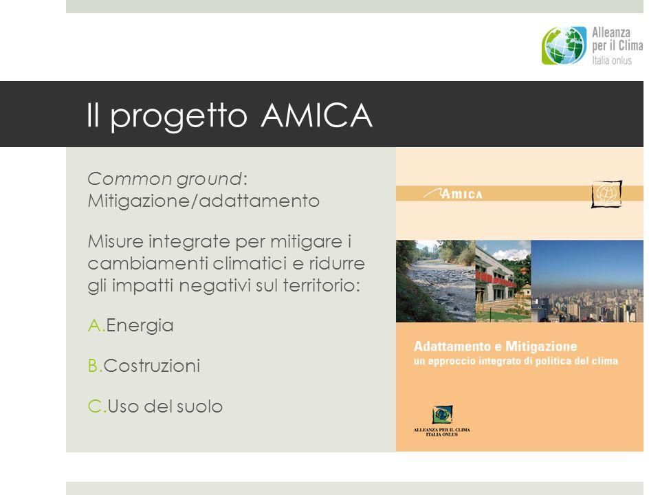 Il progetto AMICA Common ground: Mitigazione/adattamento Misure integrate per mitigare i cambiamenti climatici e ridurre gli impatti negativi sul territorio: A.Energia B.Costruzioni C.Uso del suolo
