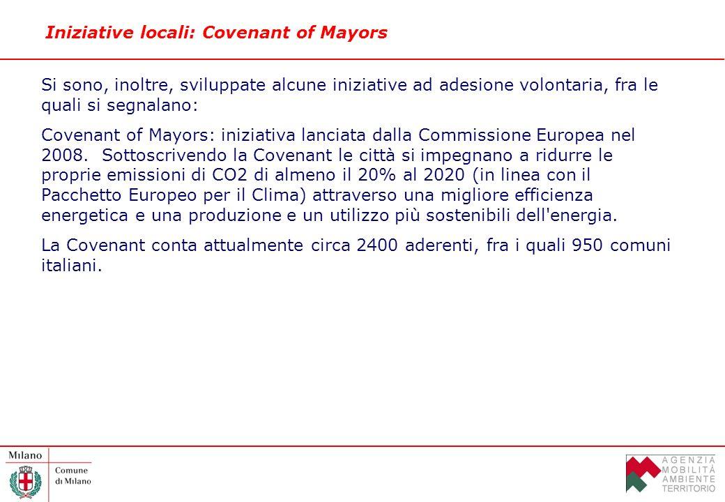 Iniziative locali: Covenant of Mayors Si sono, inoltre, sviluppate alcune iniziative ad adesione volontaria, fra le quali si segnalano: Covenant of Mayors: iniziativa lanciata dalla Commissione Europea nel 2008.