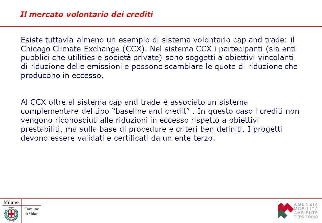 Il mercato volontario dei crediti Esiste tuttavia almeno un esempio di sistema volontario cap and trade: il Chicago Climate Exchange (CCX).