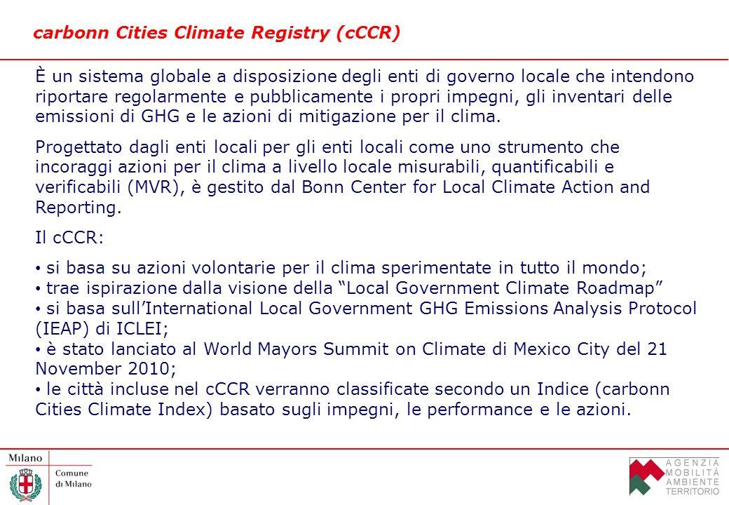 carbonn Cities Climate Registry (cCCR) È un sistema globale a disposizione degli enti di governo locale che intendono riportare regolarmente e pubblicamente i propri impegni, gli inventari delle emissioni di GHG e le azioni di mitigazione per il clima.