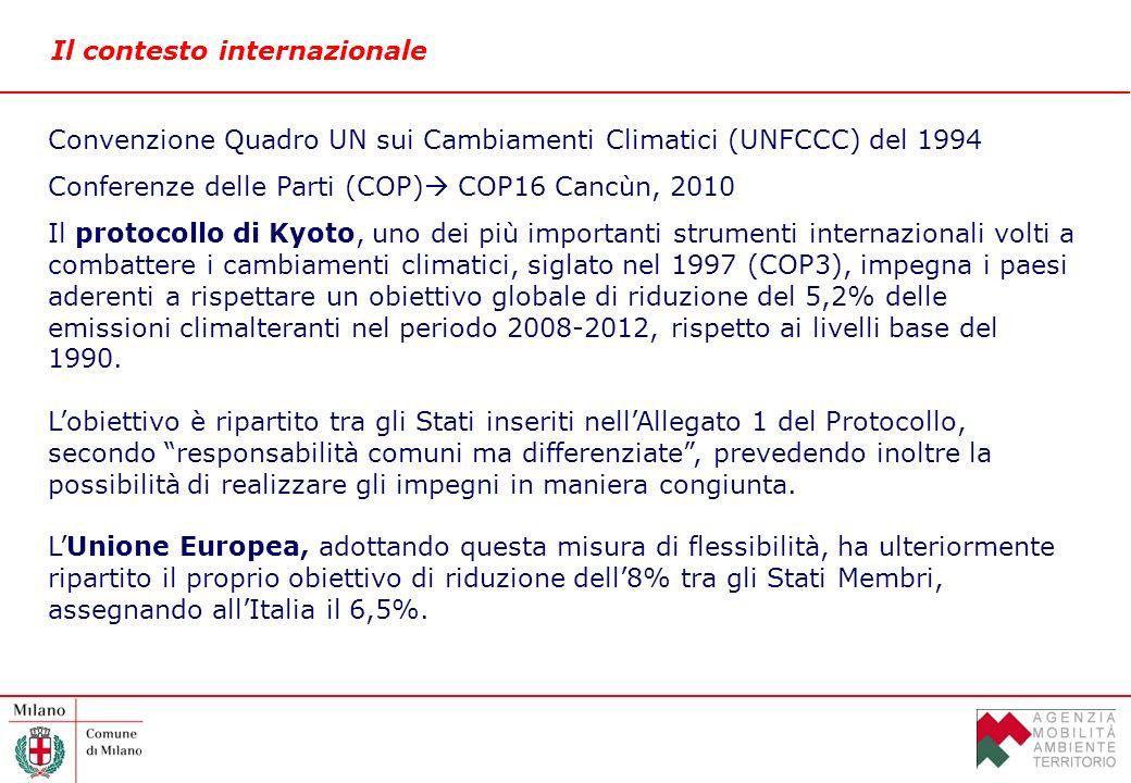 Il contesto internazionale Convenzione Quadro UN sui Cambiamenti Climatici (UNFCCC) del 1994 Conferenze delle Parti (COP) COP16 Cancùn, 2010 Il protocollo di Kyoto, uno dei più importanti strumenti internazionali volti a combattere i cambiamenti climatici, siglato nel 1997 (COP3), impegna i paesi aderenti a rispettare un obiettivo globale di riduzione del 5,2% delle emissioni climalteranti nel periodo 2008-2012, rispetto ai livelli base del 1990.