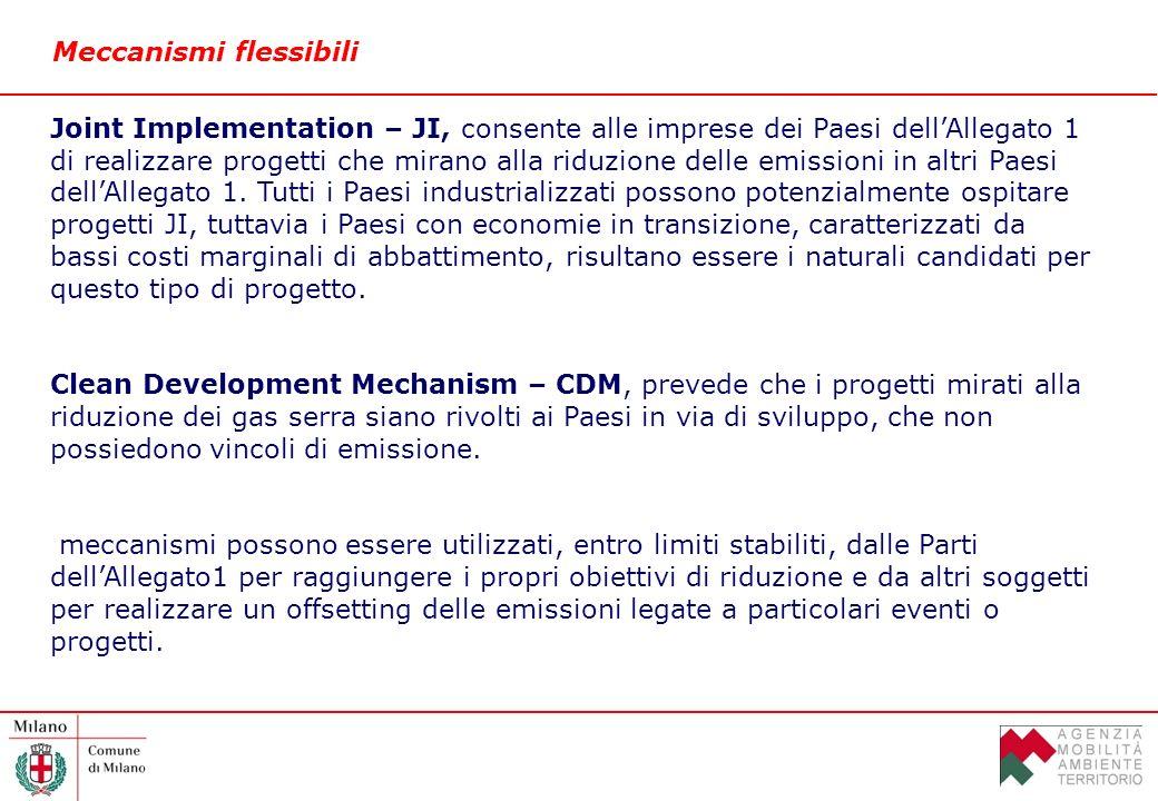 Meccanismi flessibili Joint Implementation – JI, consente alle imprese dei Paesi dellAllegato 1 di realizzare progetti che mirano alla riduzione delle emissioni in altri Paesi dellAllegato 1.