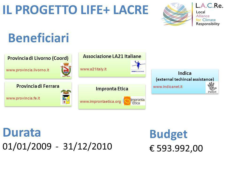 IL PROGETTO LIFE+ LACRE Provincia di Ferrara Associazione LA21 Italiane Provincia di Livorno (Coord) Impronta Etica Indica (external techincal assistance) Indica (external techincal assistance) www.provincia.livorno.it www.provincia.fe.it www.a21italy.it www.improntaetica.org www.indicanet.it 01/01/2009 - 31/12/2010 Budget 593.992,00 Durata Beneficiari