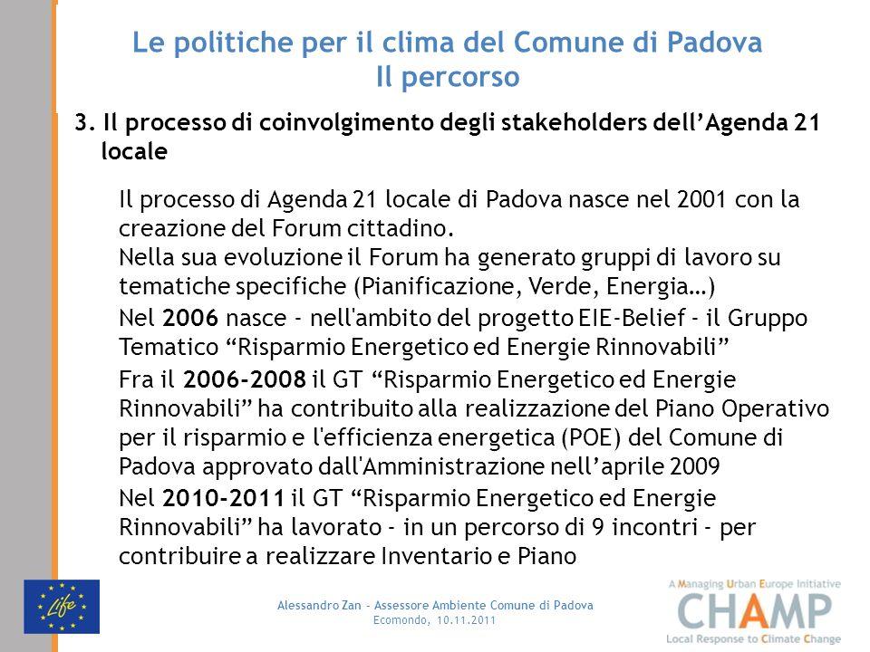 Alessandro Zan - Assessore Ambiente Comune di Padova Ecomondo, 10.11.2011 Le politiche per il clima del Comune di Padova Il percorso 3. Il processo di