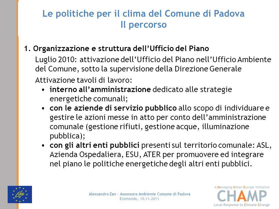 Alessandro Zan - Assessore Ambiente Comune di Padova Ecomondo, 10.11.2011 Le politiche per il clima del Comune di Padova Il percorso 1. Organizzazione