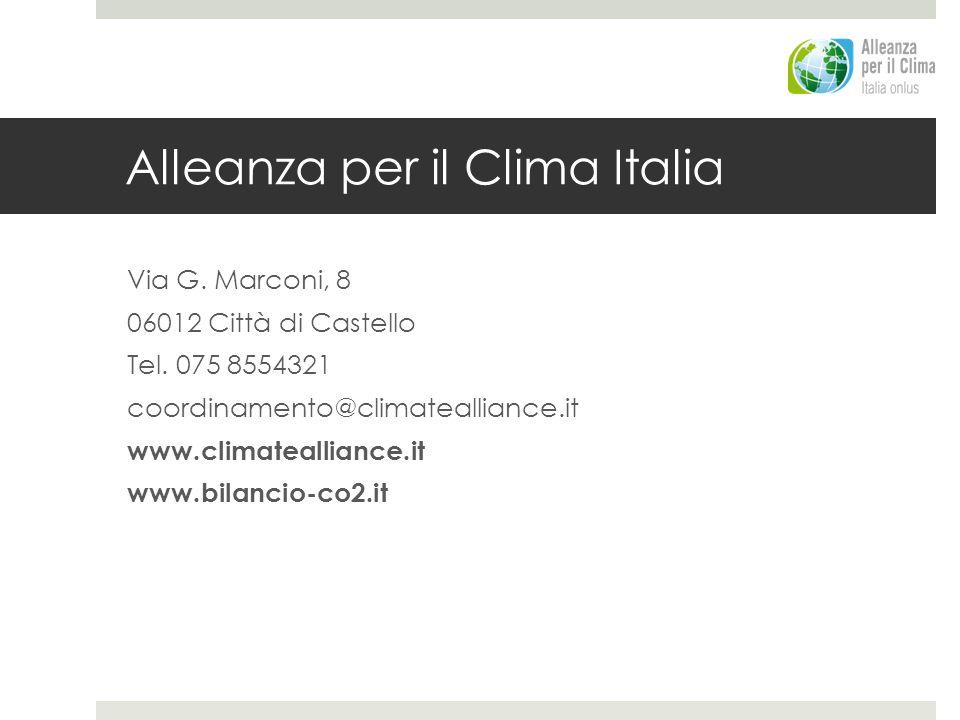 Alleanza per il Clima Italia Via G. Marconi, 8 06012 Città di Castello Tel. 075 8554321 coordinamento@climatealliance.it www.climatealliance.it www.bi