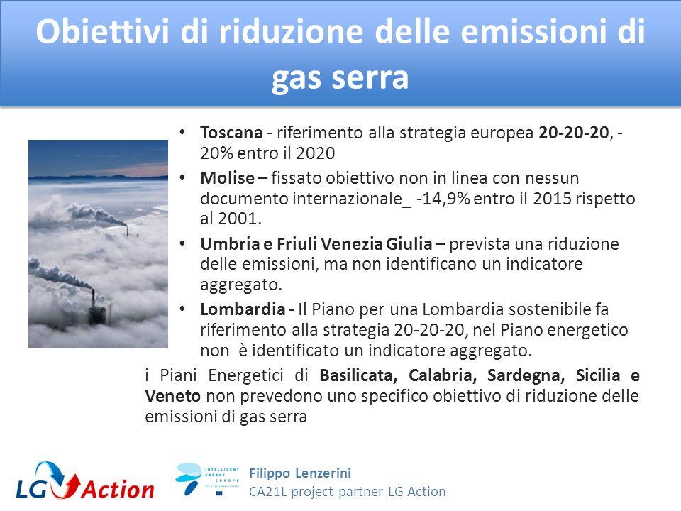 Filippo Lenzerini CA21L project partner LG Action Obiettivi di riduzione delle emissioni di gas serra Toscana - riferimento alla strategia europea 20-