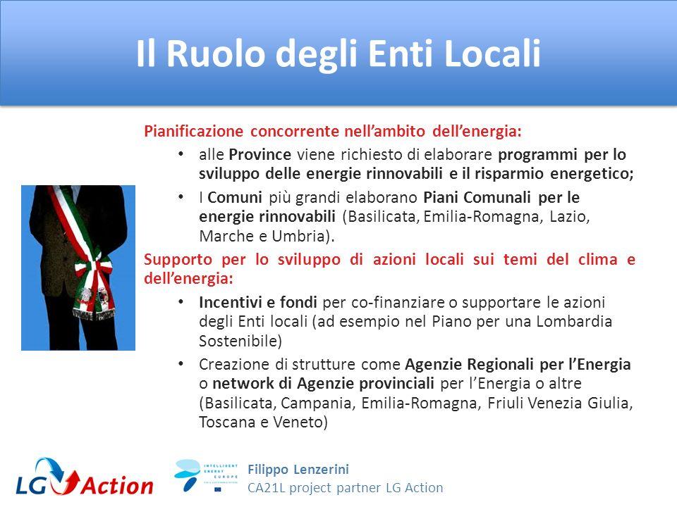 Filippo Lenzerini CA21L project partner LG Action Il Ruolo degli Enti Locali Pianificazione concorrente nellambito dellenergia: alle Province viene ri