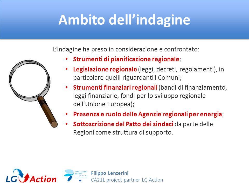 Filippo Lenzerini CA21L project partner LG Action Ambito dellindagine Riguardo agli Strumenti di pianificazione regionale sono stati esaminati i Piani Clima e Piani Energetici evidenziando in particolare per ogni piano: Se prevede un obiettivo di riduzione delle emissioni di gas serra e, se si, quale.