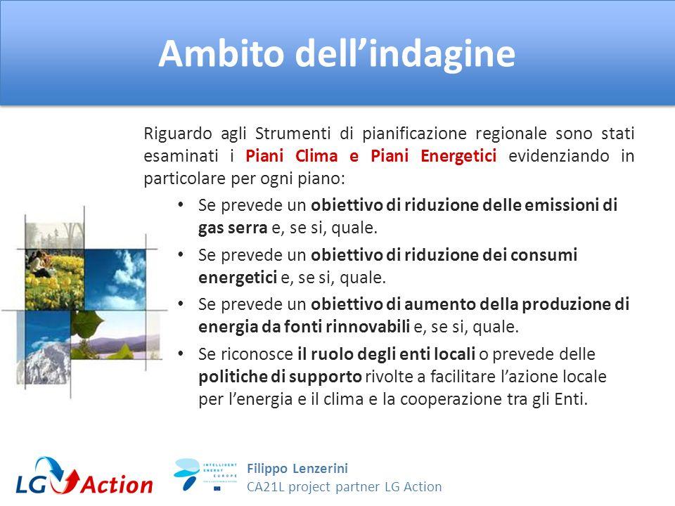 Filippo Lenzerini CA21L project partner LG Action Ambito dellindagine Riguardo agli Strumenti di pianificazione regionale sono stati esaminati i Piani