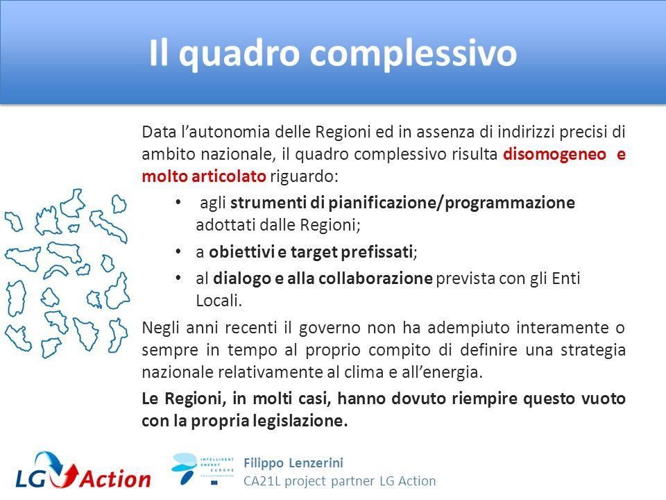 Filippo Lenzerini CA21L project partner LG Action Il quadro complessivo Data lautonomia delle Regioni ed in assenza di indirizzi precisi di ambito naz