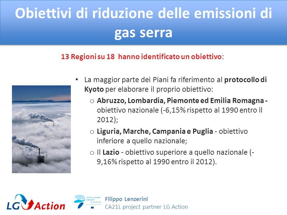 Filippo Lenzerini CA21L project partner LG Action Obiettivi di riduzione delle emissioni di gas serra Toscana - riferimento alla strategia europea 20-20-20, - 20% entro il 2020 Molise – fissato obiettivo non in linea con nessun documento internazionale_ -14,9% entro il 2015 rispetto al 2001.