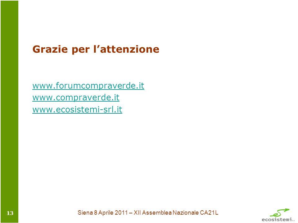 Siena 8 Aprile 2011 – XII Assemblea Nazionale CA21L 13 Grazie per lattenzione www.forumcompraverde.it www.compraverde.it www.ecosistemi-srl.it