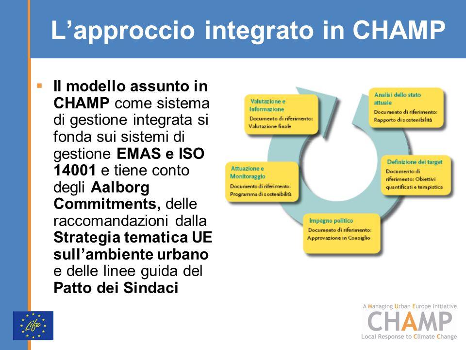 Lapproccio integrato in CHAMP Il modello assunto in CHAMP come sistema di gestione integrata si fonda sui sistemi di gestione EMAS e ISO 14001 e tiene conto degli Aalborg Commitments, delle raccomandazioni dalla Strategia tematica UE sullambiente urbano e delle linee guida del Patto dei Sindaci