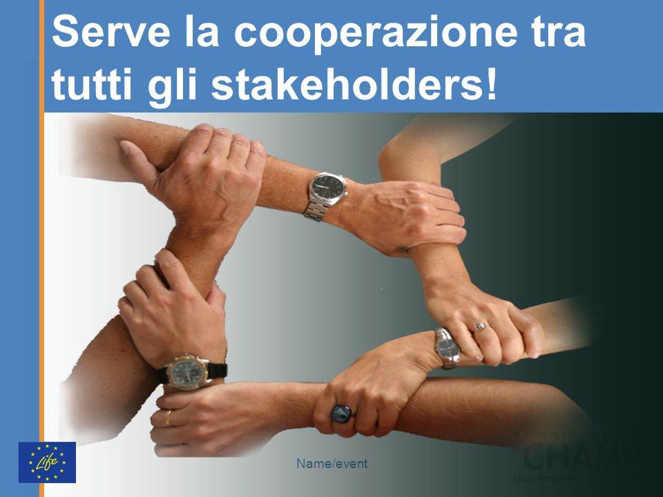 Name/event Serve la cooperazione tra tutti gli stakeholders!