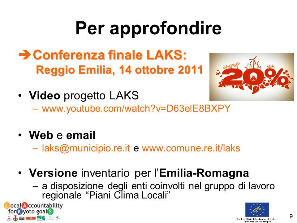 9 Conferenza finale LAKS: Reggio Emilia, 14 ottobre 2011 Reggio Emilia, 14 ottobre 2011 Video progetto LAKS –www.youtube.com/watch?v=D63elE8BXPY Web e