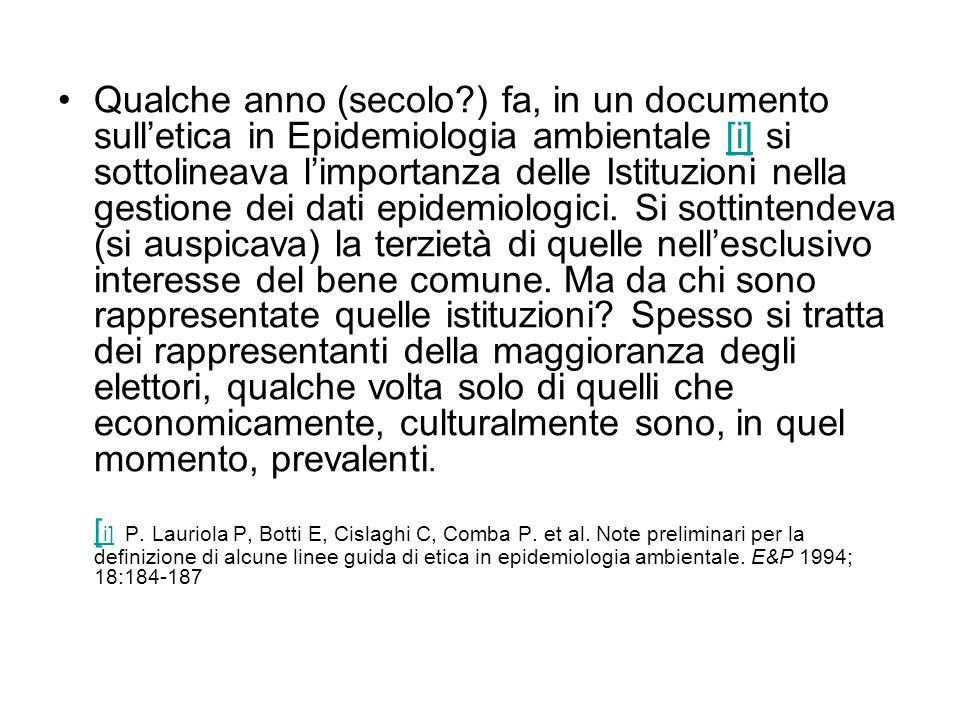 Qualche anno (secolo?) fa, in un documento sulletica in Epidemiologia ambientale [i] si sottolineava limportanza delle Istituzioni nella gestione dei