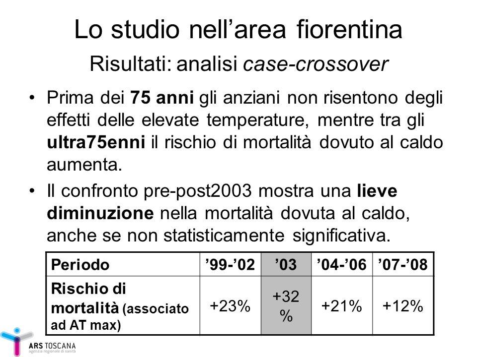Lo studio nellarea fiorentina Risultati: analisi case-crossover Prima dei 75 anni gli anziani non risentono degli effetti delle elevate temperature, m