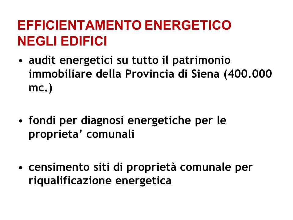 EFFICIENTAMENTO ENERGETICO NEGLI EDIFICI audit energetici su tutto il patrimonio immobiliare della Provincia di Siena (400.000 mc.) fondi per diagnosi energetiche per le proprieta comunali censimento siti di proprietà comunale per riqualificazione energetica