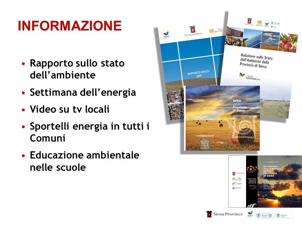 INFORMAZIONE Rapporto sullo stato dellambiente Settimana dellenergia Video su tv locali Sportelli energia in tutti i Comuni Educazione ambientale nelle scuole