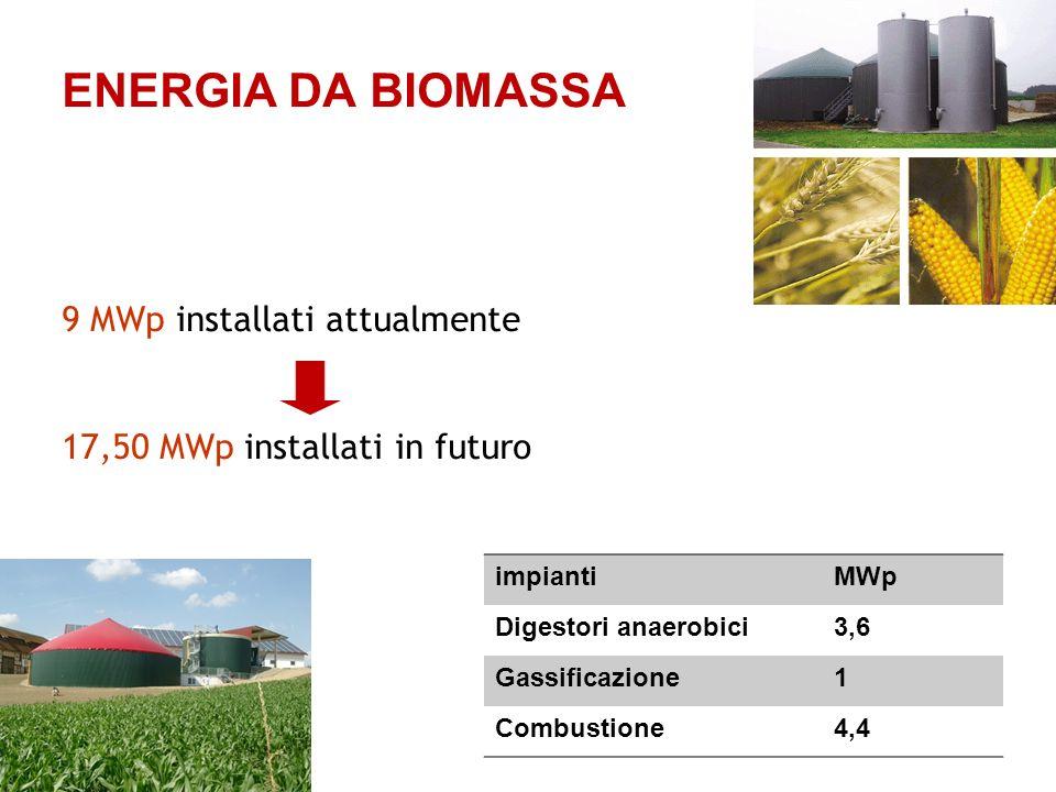 ENERGIA DA BIOMASSA impiantiMWp Digestori anaerobici3,6 Gassificazione1 Combustione4,4 9 MWp installati attualmente 17,50 MWp installati in futuro