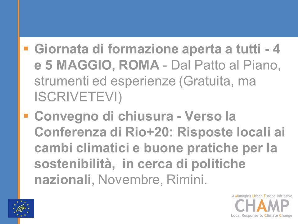 Giornata di formazione aperta a tutti - 4 e 5 MAGGIO, ROMA - Dal Patto al Piano, strumenti ed esperienze (Gratuita, ma ISCRIVETEVI) Convegno di chiusu