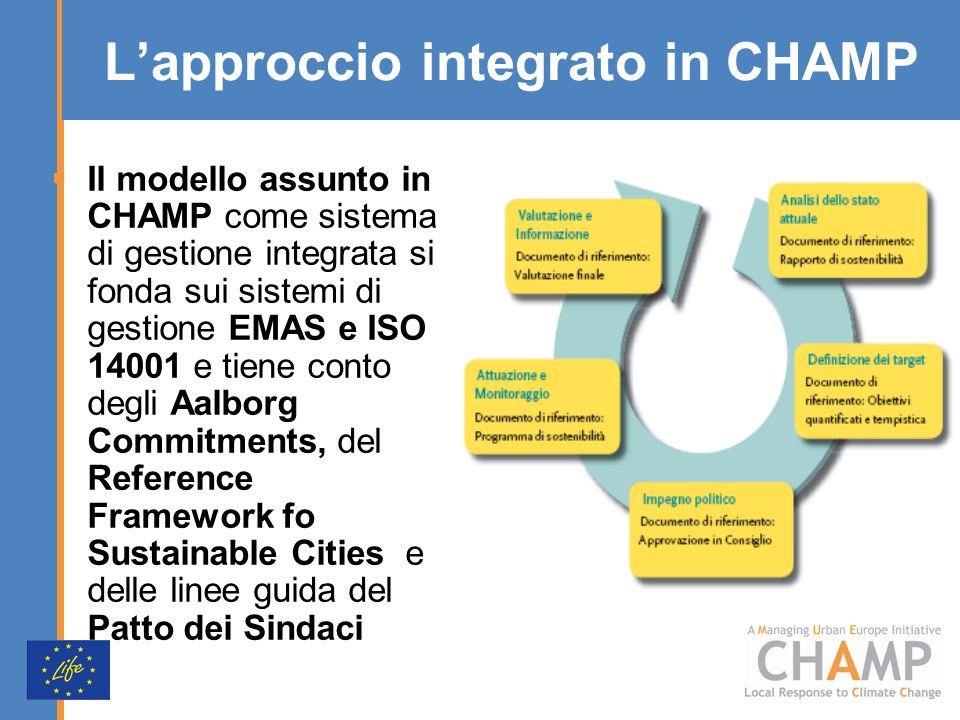 Lapproccio integrato in CHAMP Il modello assunto in CHAMP come sistema di gestione integrata si fonda sui sistemi di gestione EMAS e ISO 14001 e tiene conto degli Aalborg Commitments, del Reference Framework fo Sustainable Cities e delle linee guida del Patto dei Sindaci