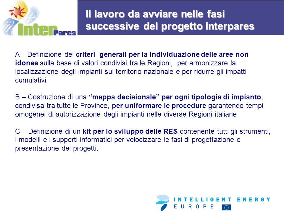 A – Definizione dei criteri generali per la individuazione delle aree non idonee sulla base di valori condivisi tra le Regioni, per armonizzare la localizzazione degli impianti sul territorio nazionale e per ridurre gli impatti cumulativi B – Costruzione di una mappa decisionale per ogni tipologia di impianto, condivisa tra tutte le Province, per uniformare le procedure garantendo tempi omogenei di autorizzazione degli impianti nelle diverse Regioni italiane C – Definizione di un kit per lo sviluppo delle RES contenente tutti gli strumenti, i modelli e i supporti informatici per velocizzare le fasi di progettazione e presentazione dei progetti.