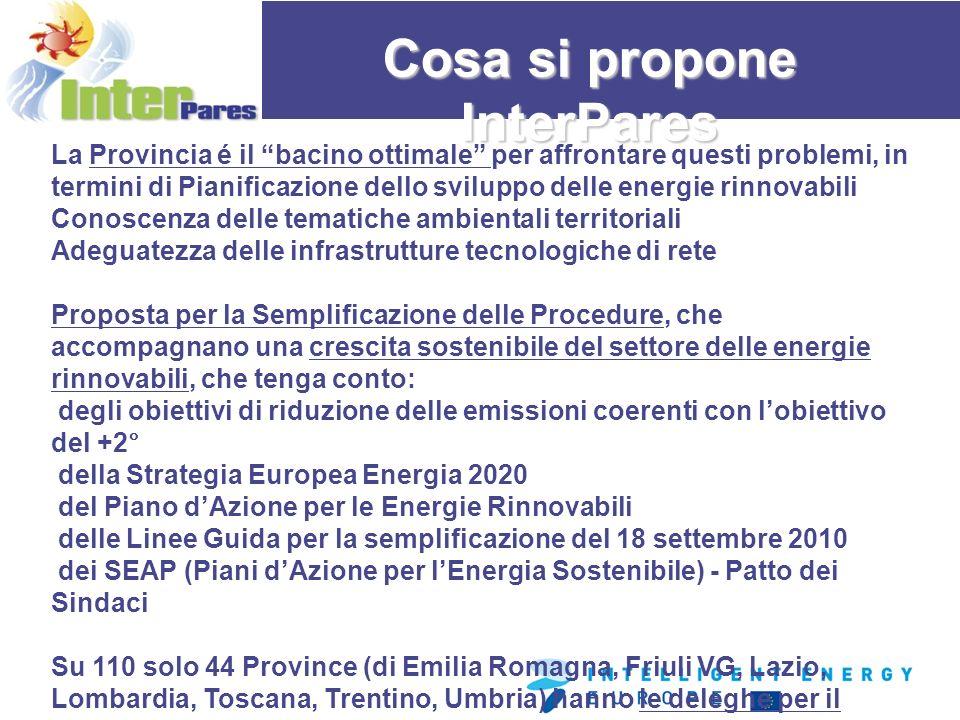 Cosa si propone InterPares La Provincia é il bacino ottimale per affrontare questi problemi, in termini di Pianificazione dello sviluppo delle energie rinnovabili Conoscenza delle tematiche ambientali territoriali Adeguatezza delle infrastrutture tecnologiche di rete Proposta per la Semplificazione delle Procedure, che accompagnano una crescita sostenibile del settore delle energie rinnovabili, che tenga conto: degli obiettivi di riduzione delle emissioni coerenti con lobiettivo del +2° della Strategia Europea Energia 2020 del Piano dAzione per le Energie Rinnovabili delle Linee Guida per la semplificazione del 18 settembre 2010 dei SEAP (Piani dAzione per lEnergia Sostenibile) - Patto dei Sindaci Su 110 solo 44 Province (di Emilia Romagna, Friuli VG, Lazio, Lombardia, Toscana, Trentino, Umbria) hanno le deleghe per il rilascio dellAutorizzazione Unica, mentre nelle Contee (Romania) e le Prefetture (Grecia) il grado di decentramento delle funzioni amministrative é ancora basso