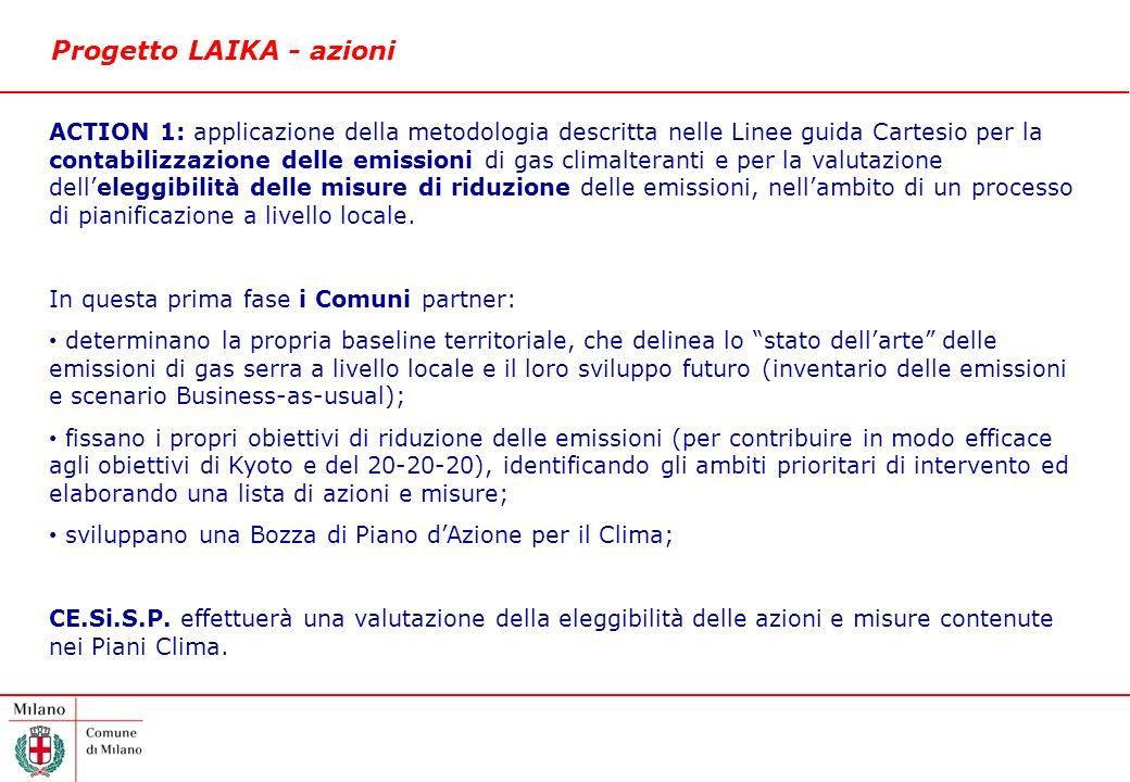 Progetto LAIKA - azioni ACTION 1: applicazione della metodologia descritta nelle Linee guida Cartesio per la contabilizzazione delle emissioni di gas climalteranti e per la valutazione delleleggibilità delle misure di riduzione delle emissioni, nellambito di un processo di pianificazione a livello locale.