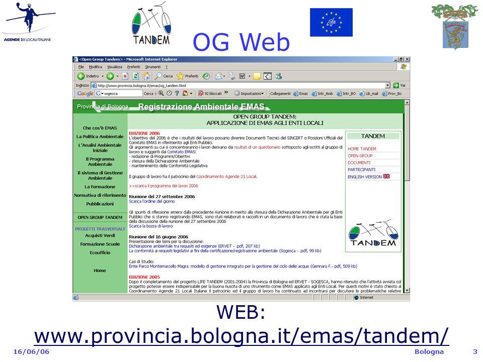 Bologna 16/06/063 OG Web WEB: www.provincia.bologna.it/emas/tandem/