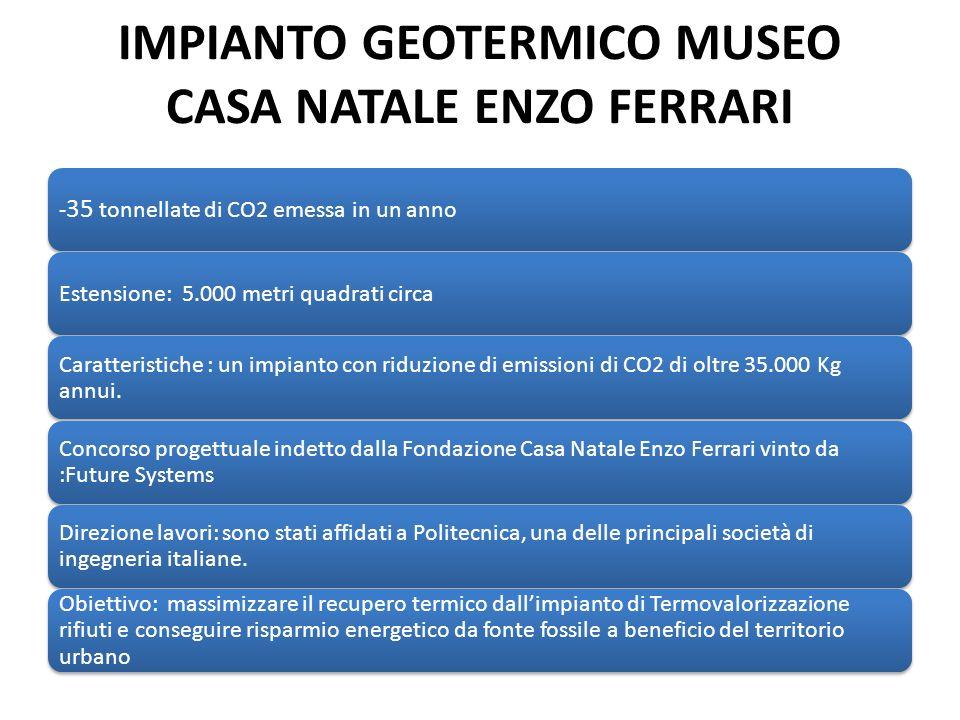 IMPIANTO GEOTERMICO MUSEO CASA NATALE ENZO FERRARI - 35 tonnellate di CO2 emessa in un anno Estensione: 5.000 metri quadrati circa Caratteristiche : un impianto con riduzione di emissioni di CO2 di oltre 35.000 Kg annui.