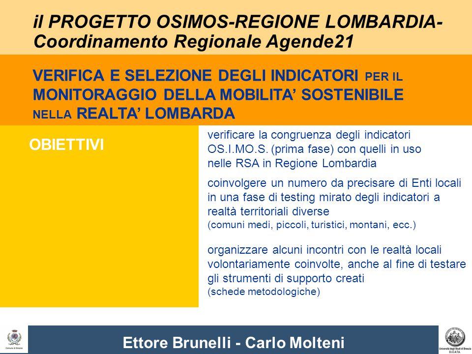 Ettore Brunelli - Carlo Molteni il PROGETTO OSIMOS-REGIONE LOMBARDIA- Coordinamento Regionale Agende21 OBIETTIVI verificare la congruenza degli indicatori OS.I.MO.S.