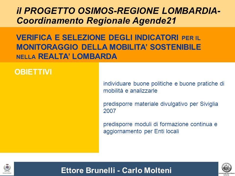 Ettore Brunelli - Carlo Molteni il PROGETTO OSIMOS-REGIONE LOMBARDIA- Coordinamento Regionale Agende21 OBIETTIVI individuare buone politiche e buone p