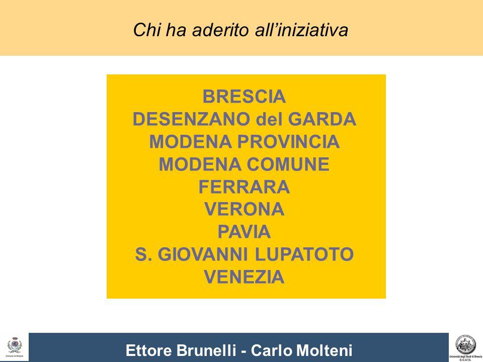 Ettore Brunelli - Carlo Molteni Chi ha aderito alliniziativa BRESCIA DESENZANO del GARDA MODENA PROVINCIA MODENA COMUNE FERRARA VERONA PAVIA S.