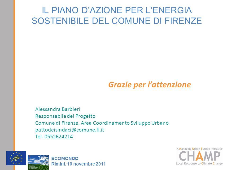 IL PIANO DAZIONE PER LENERGIA SOSTENIBILE DEL COMUNE DI FIRENZE ECOMONDO Rimini, 10 novembre 2011 Grazie per lattenzione Alessandra Barbieri Responsab