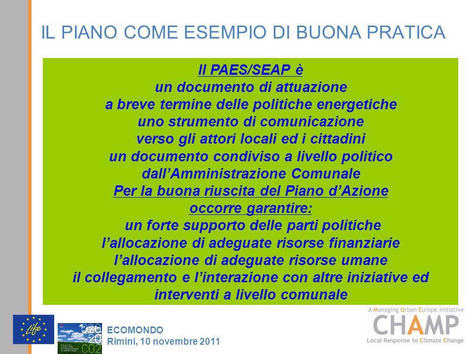 IL PIANO COME ESEMPIO DI BUONA PRATICA ECOMONDO Rimini, 10 novembre 2011 Il PAES/SEAP è un documento di attuazione a breve termine delle politiche ene