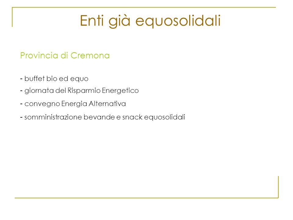 Enti già equosolidali Provincia di Cremona - buffet bio ed equo - giornata del Risparmio Energetico - convegno Energia Alternativa - somministrazione