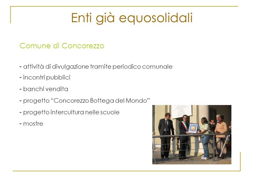 Enti già equosolidali Comune di Concorezzo - attività di divulgazione tramite periodico comunale - incontri pubblici - banchi vendita - progetto Conco