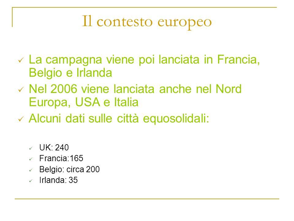 Il contesto europeo La campagna viene poi lanciata in Francia, Belgio e Irlanda Nel 2006 viene lanciata anche nel Nord Europa, USA e Italia Alcuni dat