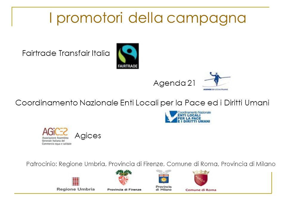 I promotori della campagna Fairtrade Transfair Italia Agenda 21 Coordinamento Nazionale Enti Locali per la Pace ed i Diritti Umani Agices Patrocinio:
