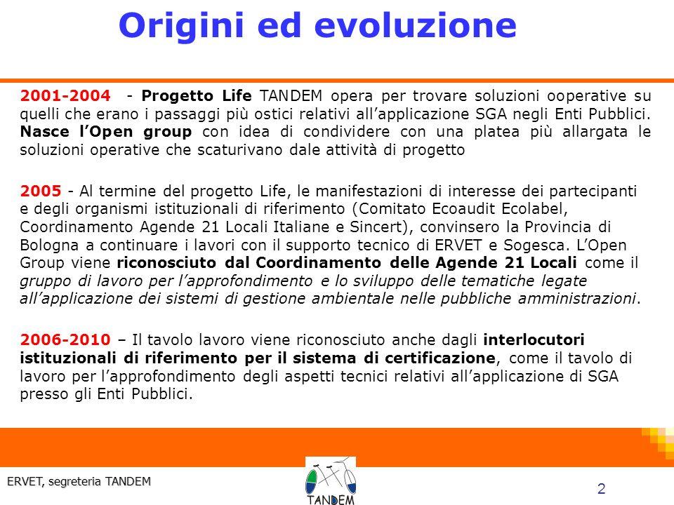 2 ERVET, segreteria TANDEM 2001-2004 - Progetto Life TANDEM opera per trovare soluzioni ooperative su quelli che erano i passaggi più ostici relativi allapplicazione SGA negli Enti Pubblici.