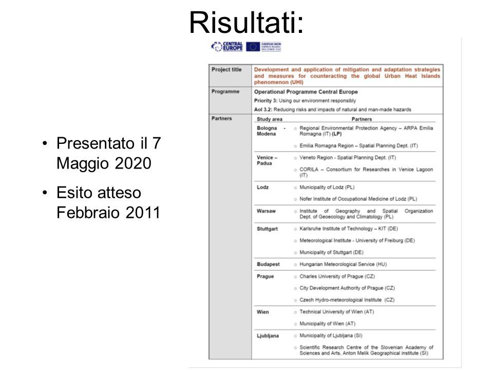 Risultati: Presentato il 7 Maggio 2020 Esito atteso Febbraio 2011