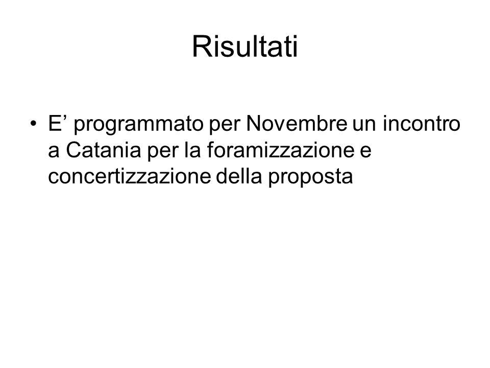 Risultati E programmato per Novembre un incontro a Catania per la foramizzazione e concertizzazione della proposta