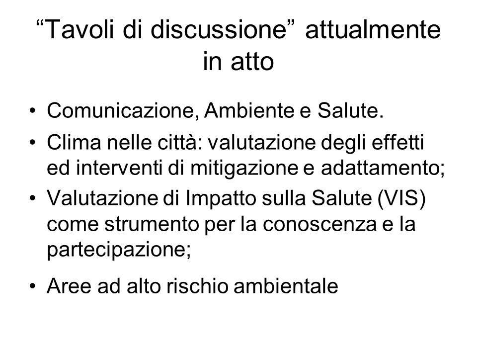 Tavoli di discussione attualmente in atto Comunicazione, Ambiente e Salute.